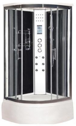 Black LW4 steam shower with tub tray