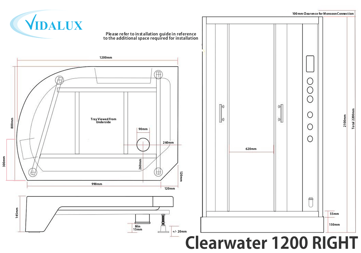 Clearwater 1200R Steam Shower