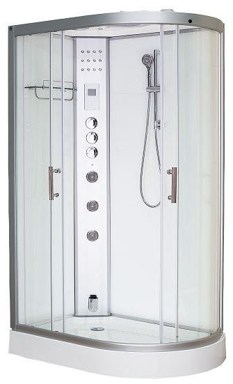 Clearwater 1200L elongated steam shower left hand white
