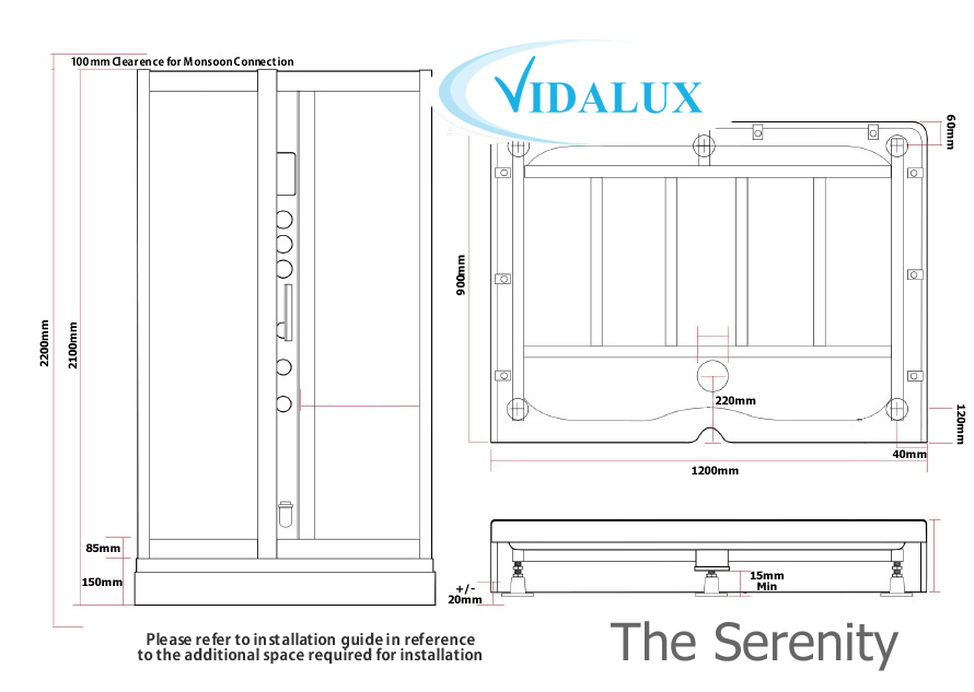Serenity Rectangular Steam Shower Schematic