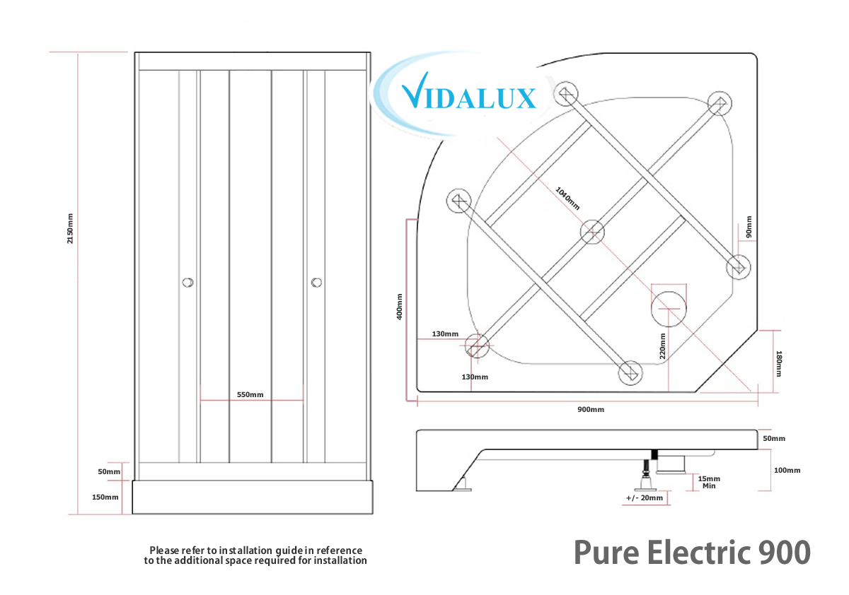 Pure E 900 Elecric Shower Pod Schematic