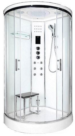 800 corner shower with steam white