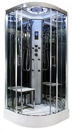 900mm x 900mm  Platinum quadrant steam effect shower by Insignia with Chrome frame.