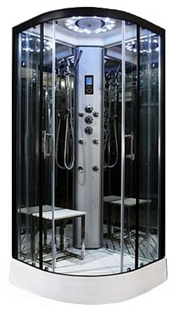 900mm  Platinum quadrant steam effect shower by Insignia with Black frame