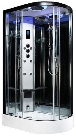 Steam - 1200mm L/H offset Premium steam shower by Insignia with Black frame.