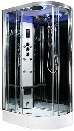 Premium R/H 1100mm corner steam shower by Insignia with Black frame.