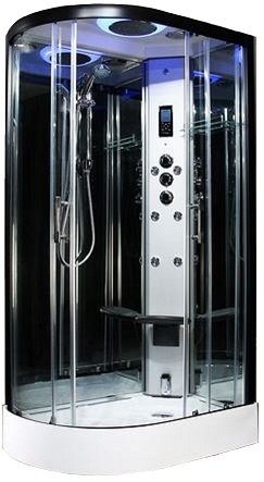 Insignia - Premium R/H 1100mm corner steam shower by Insignia with Black frame.