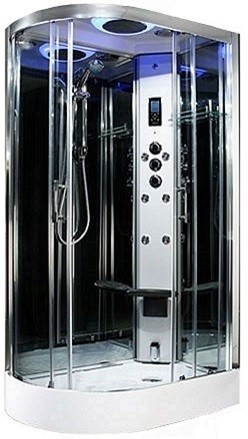 R/H 1100mm Premium quadrant steam effect shower by Insignia with Chrome frame.