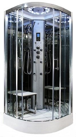 Insignia Steam Showers -900mm x 900mm  Platinum quadrant steam effect shower by Insignia with Chrome frame.