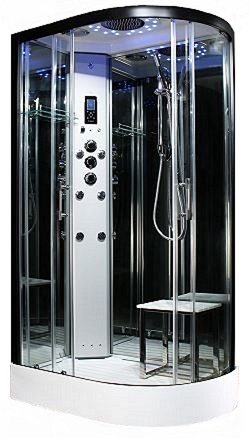 Steam - Platinum 1200mm x 800mm L/H steam shower by Insignia with Black frame