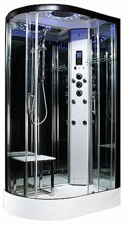 Steam - Platinum  R/H 1200mm x 800mm steam shower by Insignia with Black frame.