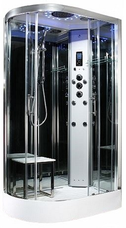 Steam - Platinum  R/H 1200mm x 800mm steam effect shower by Insignia with Chrome frame.