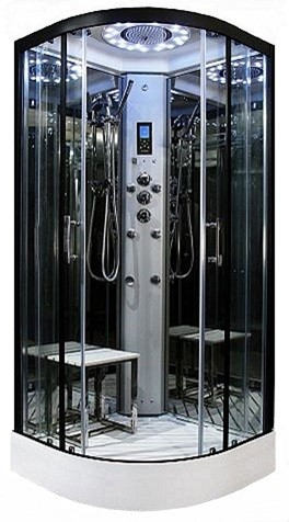 Insignia Steam Showers -800mm Platinum corner steam function shower by Insignia with Black frame.
