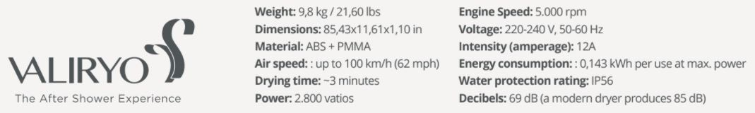 Valiryo Technical Data